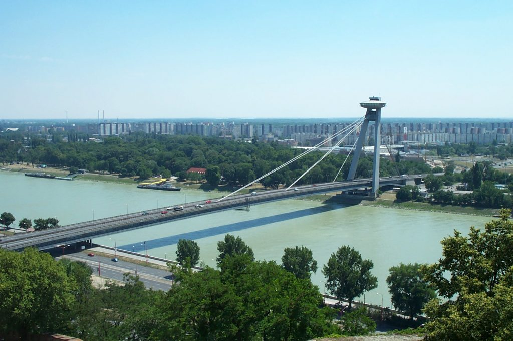 UFO Observation Deck on the Most SNP Bridge over the Danube