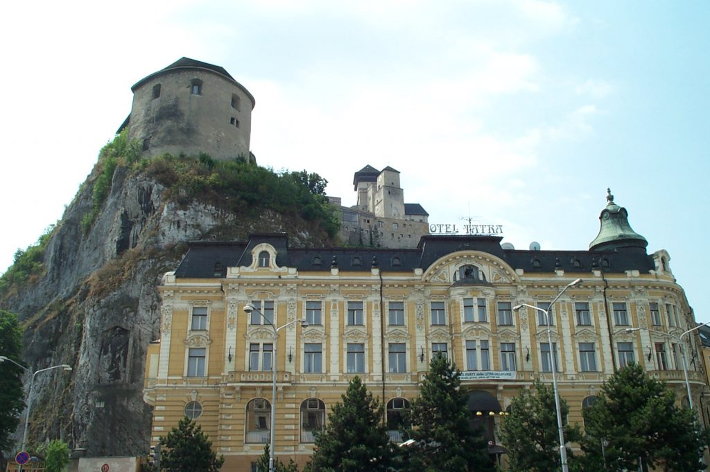 Trenčín Castle above the Hotel Tatra