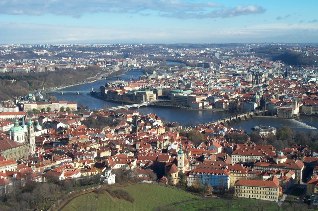 View of the Vltava and Downtown Prague