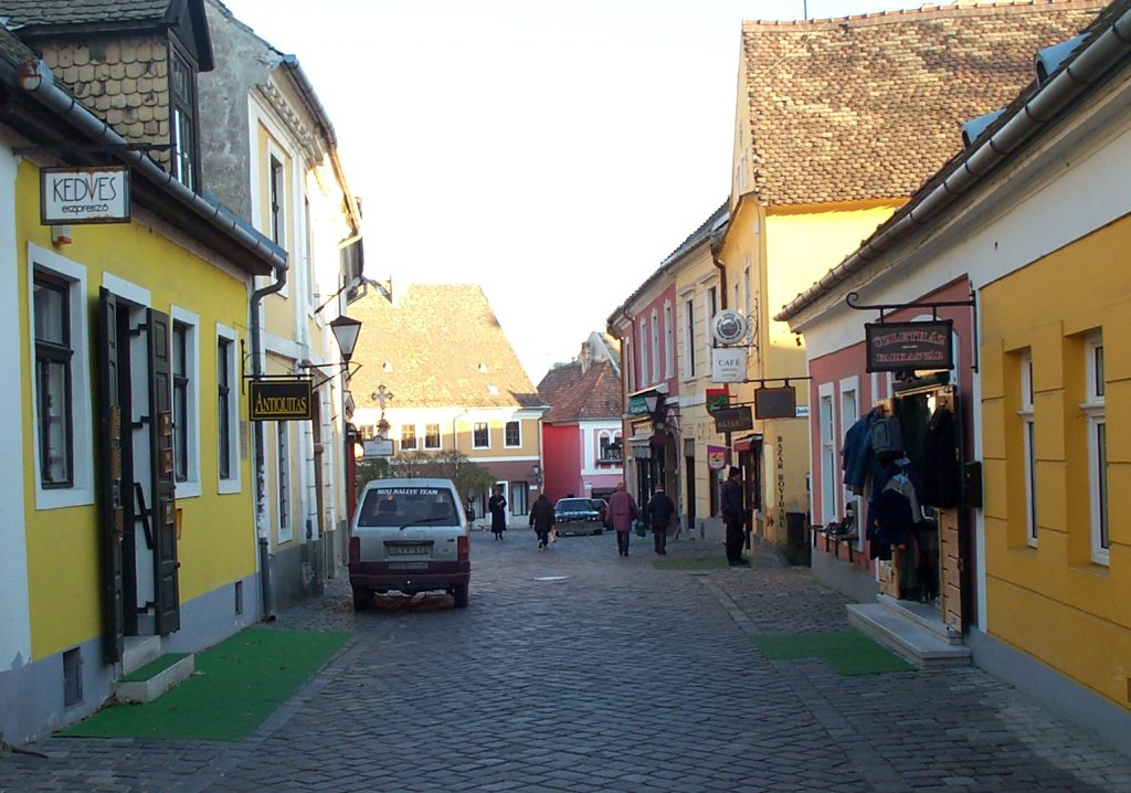 Cobblestone Road lined with souvenir shops
