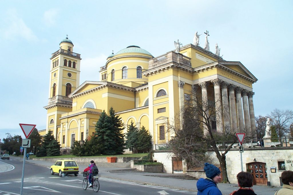 St. Stephen's Basilica above Downtown Eger